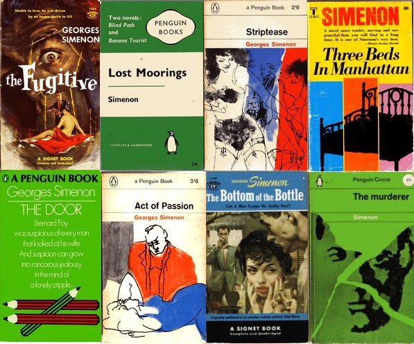 Covers from a collection of paperback Simenons