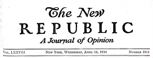Cover of 18 April 1934 issue of the New Republic