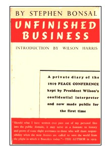Cover of first U. K. edition of 'Unfinished Business'
