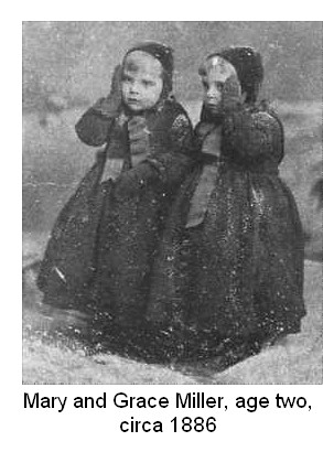 Mary and Grace Miller, age 3, around 1886