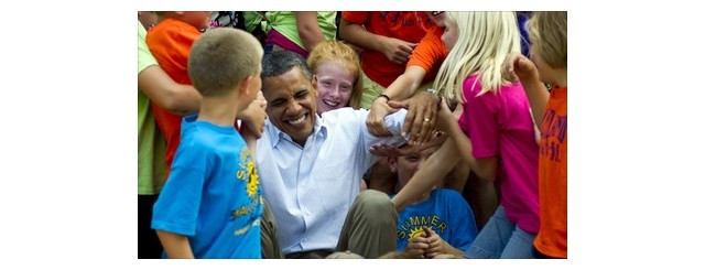 President Obama joking with kids in Chatfield, Minnesota on August 15, 2011