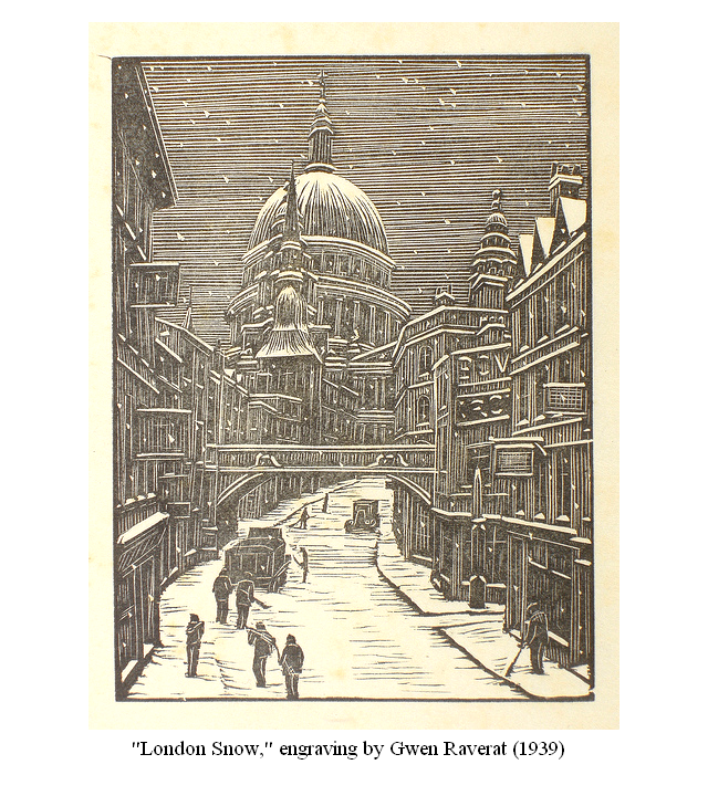 """London Snow,"" a wood engraving by Gwen Raverat"