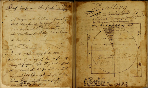 """Bad books are the fontain of Vice,"" pages from ""Manuscript commonplace book, largely taken up with rules for constructing sundials,"" ca. 1745 by James Blake"