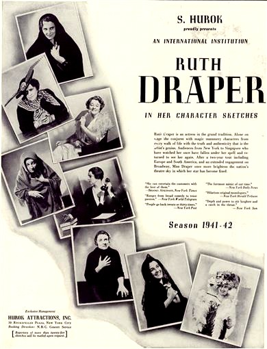 1942 promotional advertisement for Ruth Draper