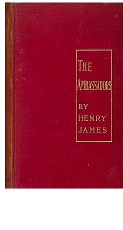 "First edition of The Ambassadors: ""the title, set within the golden lines of an upright oblong in letters of gold upon the red cover..."""