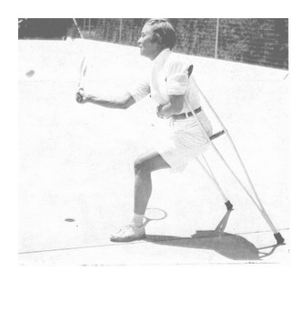 Louise Baker, playing tennis (press photo from 1955)