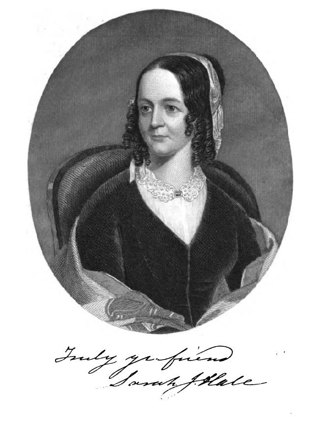 Sarah Josepha Hale, from the frontispiece to The Woman's Record