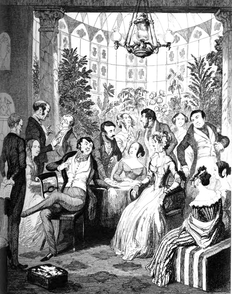 "An illustration by George Cruikshank from ""Modern Chivalry"" by Mrs. Catherine Gore"